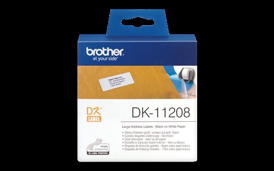 Etichete autoadezive Brother DK11208, 38mm x 90mm, 400 buc, Hârtie termică albă