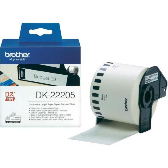 Etichete autoadezive Brother DK22205, 62mm x 30,48m, Hârtie termică albă