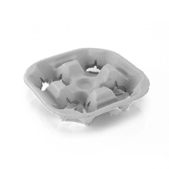 Suport ECO pentru 4 pahare din hârtie reciclata, Set 200 buc